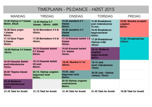 Psdance timeplann høst 2015