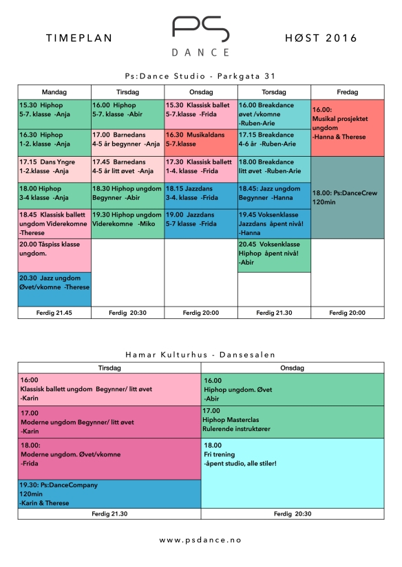 Timeplan høst 2016 ps + kulturhuset a4