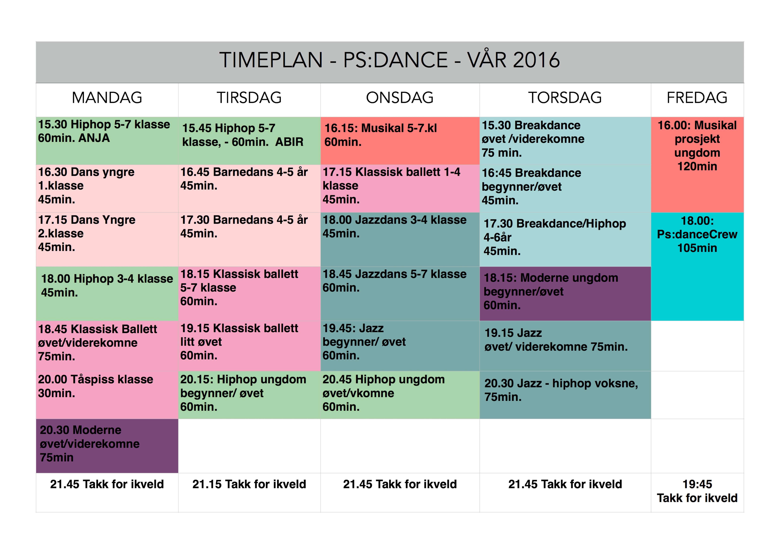 Timeplann vår 2016 PSDANCE