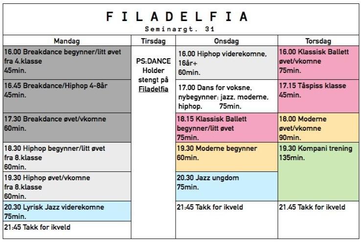 psdance timeplan Filadelfia 2014