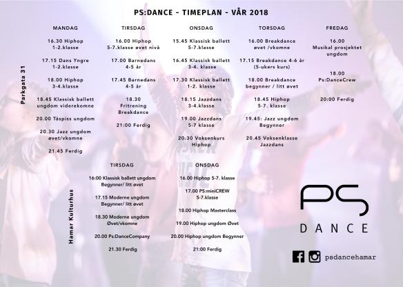 Timeplann print 2018